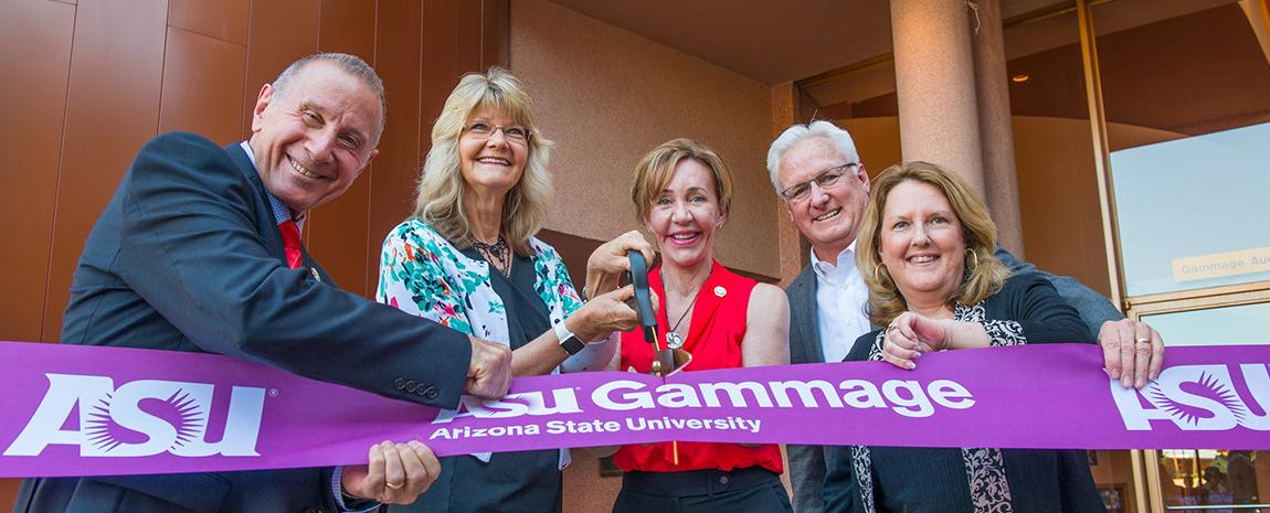 ASU Gammage VIPs cutting Grand Reopening Ribbon