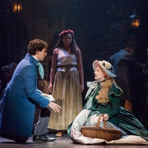 (From L) Joshua Grosso as 'Marius,' Phoenix Best as 'Éponine' and Jillian Butler as 'Cosette' in the new national tour of LES MISÉRABLES.	Photo by Matthew Murphy