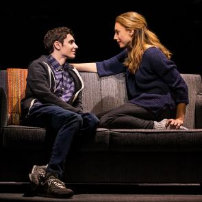 Ben Levi Ross as 'Evan Hansen' and Jessica Phillips as 'Heidi Hansen' in the First North American Tour of Dear Evan Hansen. Photo by Matthew Murphy. 2018.