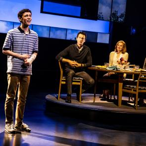 Ben Levi Ross as 'Evan Hansen,' Aaron Lazar as 'Larry Murphy,' Christiane Noll as 'Cynthia Murphy' and Maggie McKenna as 'Zoe Murphy' in the First North American Tour of Dear Evan Hansen. Photo by Matthew Murphy. 2018.