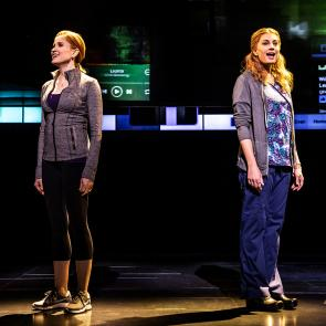 Christiane Noll as 'Cynthia Murphy' and Jessica Phillips as 'Heidi Hansen' in the First North American Tour of Dear Evan Hansen. Photo by Matthew Murphy. 2018.