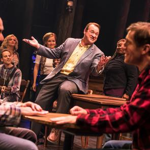 Nick Duckart, Kevin Carolan, Andrew Samonsky and Company in the First North American Tour of COME FROM AWAY, Photo by Matthew Murphy
