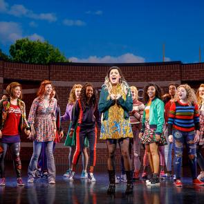 Pictured: Barrett Wilbert Weed (Janis Sarkisian) and the Company of Mean Girls  Credit: © 2018 Joan Marcus
