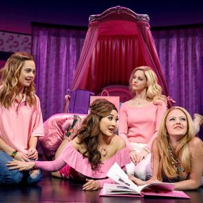 Pictured (L-R): Erika Henningsen (Cady Heron), Ashley Park (Gretchen Wieners), Taylor Louderman (Regina George), and Kate Rockwell (Karen Smith)  Credit: © 2017 Joan Marcus
