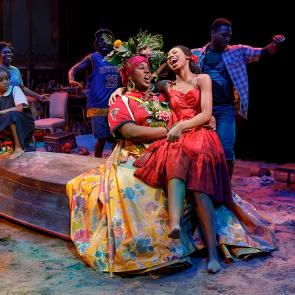 Mia Williamson, Alex Newell, Hailey Kilgore and the cast of Once On This Island