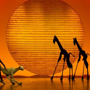 The Cheetah and Giraffes in the opening number The Circle of Life from THE LION KING North American Tour ©Disney Photo Credit Joan Marcus